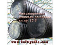 Шпильки резьбовые высокопрочные DIN 975, диаметром от м5 до м36, классом прочности 10.9, длиной 1 метр (или порезанные в требуемый размер).